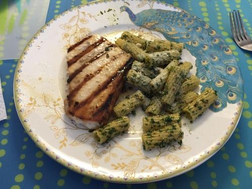 Grilled swordfish with kale/basil pesto