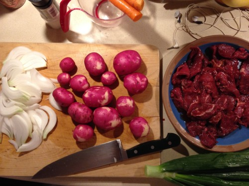 Before: prepping for Thai beef curry with potatoes