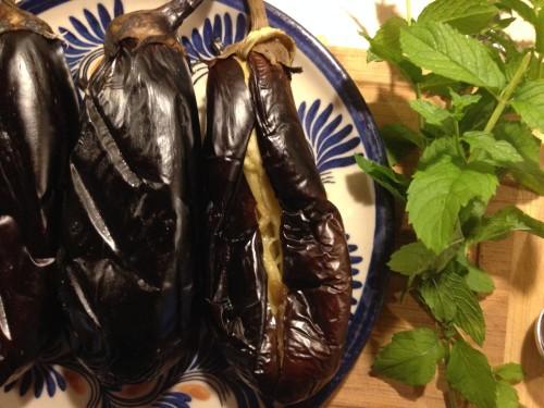 grilling whole eggplants produces soft, smoky flesh