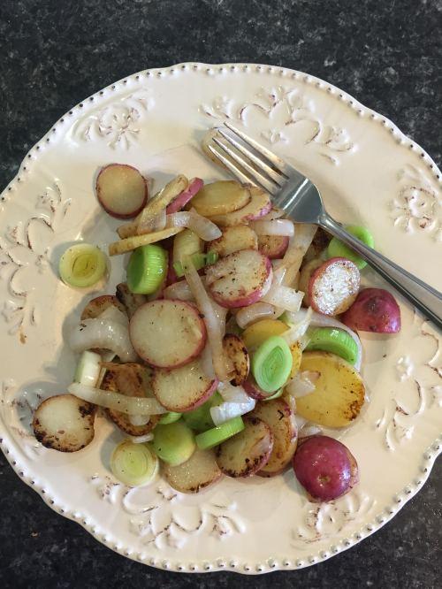 roasted potatoes and leeks