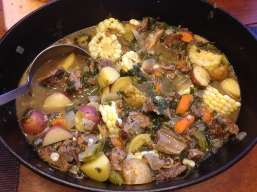 discs of sweet corn brighten up a fall beef stew